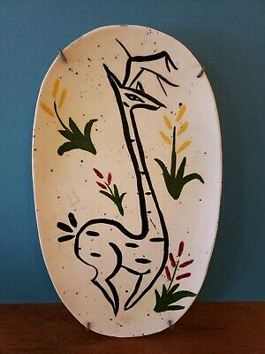 VTG Mid Century 1959 Hand Painted Deer Plate Plaque Wall Hanging