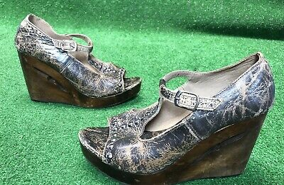 ccbfd1d30958 Bed Stu Leather W Wood Platform Wedge Strapy Studded Sandals Size 9.5  Beautiful