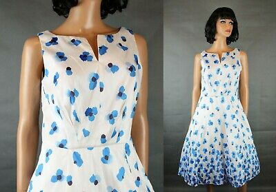 eShakti Dress Sz 8 M Sleeveless White Blue Floral Cocktail Party Gown Retro 50s