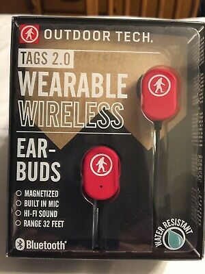 Outdoor Tech Tags 2.0 Wearable Wireless Bluetooth Earbuds NEW