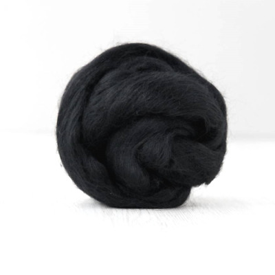 Black Merino Wool Combed Top / Roving - DHG Organic - Dark