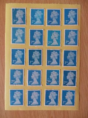 100 Blue Security Flawed 2nd Second Class Stamps - Peel and Stick - Gummed
