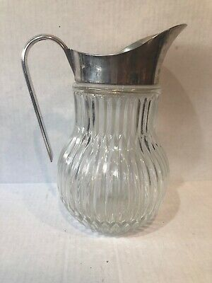 Vintage Pitcher Italy Godinger Style Silver Plate Lead Crystal Water  Ice Guard
