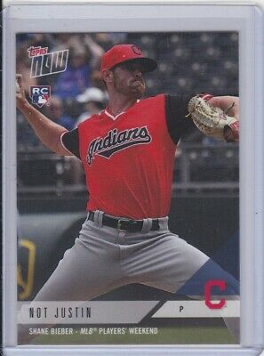 040f3f201 2018 Topps NOW PWB-17 Shane Bieber NOT JUSTIN Cleveland Indians ~ PR 25