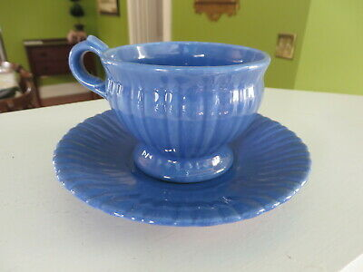 Stangl Colonial 1388 Gloss Colonial Blue Footed Cup & Saucer Set  NR C