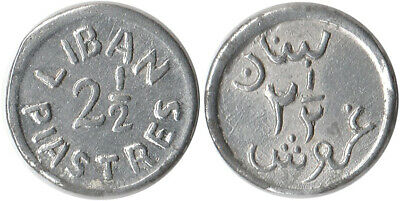 ND (1941) French Lebanon 2-1/2 Piastres Coin WWII Coinage KM#13