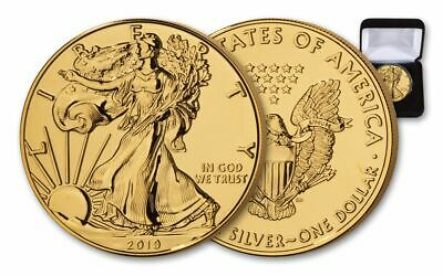 2019 $1 1-oz Silver American Eagle BU Gilded in 24 Karat Gold