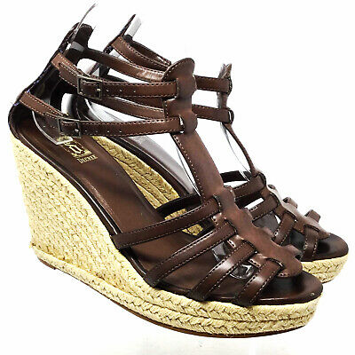 3ce14cc4f36 MOSSIMO (TARGET) WOMEN S BROWN LEATHER Strappy Wedge Espadrille ...