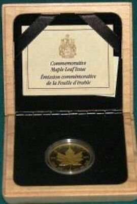 1989Proof GoldCanada Maple Leaf Anniversary Issue $50 1 Oz .9999 Fine w/ Boxes
