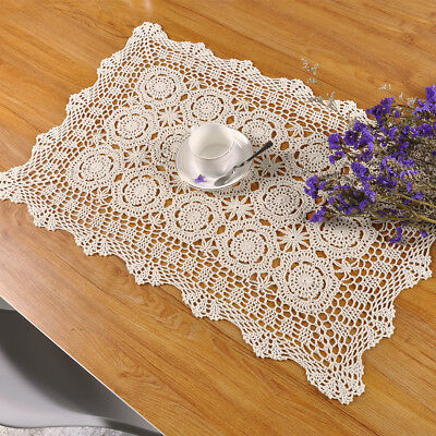 Vintage Hand Crochet Lace Doily Rectangle Table Cloth Pattern Ecru 19x31inch