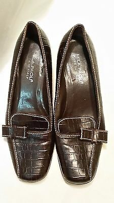 7c30155bdcef Women s Mila Paoli Italy Brown Leather Low Heel Shoes Size 8 M