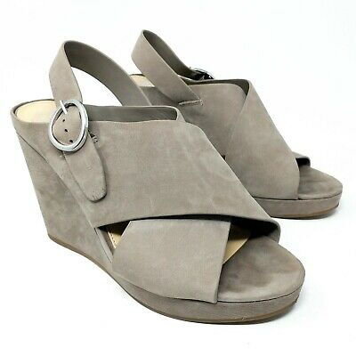 4171e3b252c Vince Camuto Iteena Womens Wedge Sandals Size 10 M Gray Taupe Suede Cross  Strap