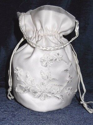 HANDCRAFTED  GUIPURE LACE APPLIQUED DRAWSTRING BAG, WHITE or IVORY,  BRAND NEW