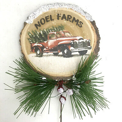 BIG Red Country Pickup Truck Wood Christmas Tree Ornament Wreath Decor Retro