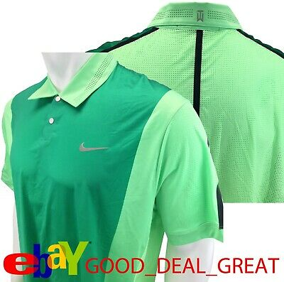 eb273042 Nike TW Tiger Woods Perforated Panel Polo Shirt 542068-335 Size L *Rare to
