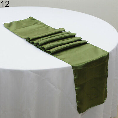 Simple 21Colors 12''x108'' Satin Table Runner Wedding Venue Decorations Party Wo