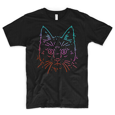 Cat T Shirt Neon Animal Lover Kittens Kitty Yin Yang Feline Meowt Celine Vogue