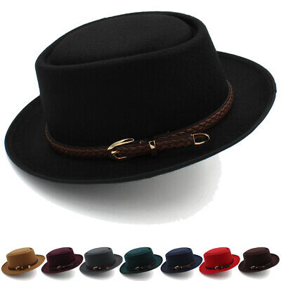 Men Women Pork Pie Hat Porkpie Cap Sunhat Boater Sailor Fedora Trilby Jazz 7 1/4