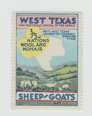 US- West Texas - Sheep & Goats- nations wool & mohair poster stamp MUH