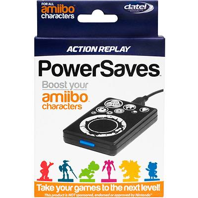 Action Replay Powersaves for Amiibo Character Boost and Cheats (Black) Brand New