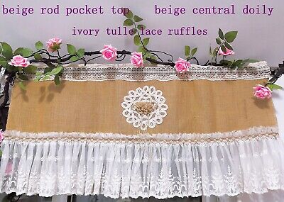 Shabby Chic~French Country Style Rustic Cafe Curtain/Valance~Burlap~Ruffled Lace