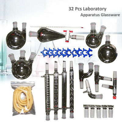 32PC Lab Distillation Chemistry Apparatus Glassware w/Graham Condenser 24/40
