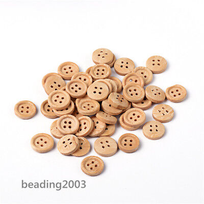 50Pcs Natural Wooden Round 4 Hole Wooden Buttons Crafting Sewing 13mm Hole 1mm