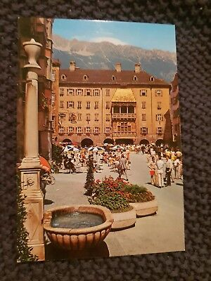 Old City Fountain & Gold-Plated Roof, Innsbruck - Vintage Postcard