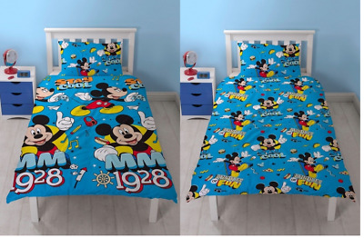 Official Mickey Mouse Cool - Reversible Single Duvet & Pillow Case Cover Bed Set