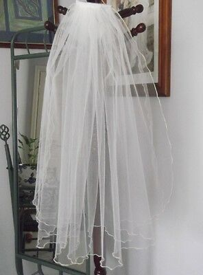 TWO TIER 85 cm BRIDAL VEIL, FLUTED EDGE, WHITE or  IVORY COLOURS, NEW, AUSTRALIA