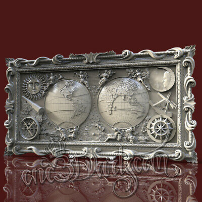 3D Model STL for CNC Router Artcam Aspire World Map Sea Panel Cut3D Vcarve