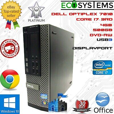 Dell OptiPlex 7010 SFF Desktop i7-3770 3.40GHz Quad 4GB 500GB USB3 DP DVD Win 10
