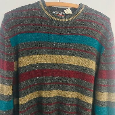 Donmoor Kids Sweater Sz XL 18/20 Vintage Striped Wool blend Long Sleeve Italy