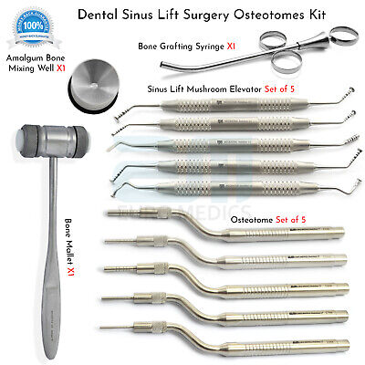 Dental Implant Bone Grafting Instrument Sinus Lift Scaler Concave Osteotome Set