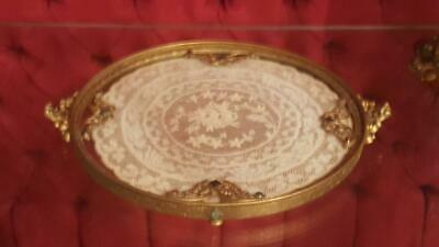 Antique Apollo Studios Small Vanity Tray  w/ Lace Insert by Etchardt Designer
