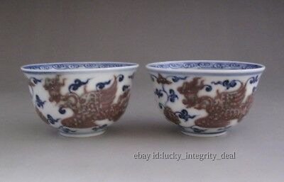 A Pair Chinese Old Underglaze color Blue & red Phoenix Porcelain Cups Mark