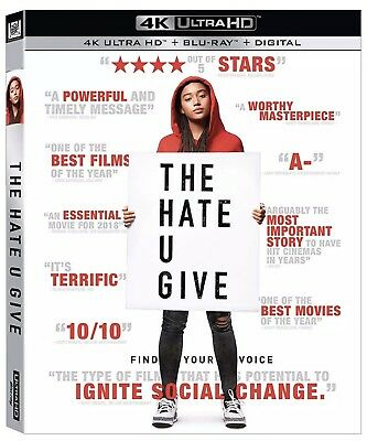 The Hate You Give(4K Ultra Hd+Blu-Ray+Digital)W/slipcover New Factory Sealed