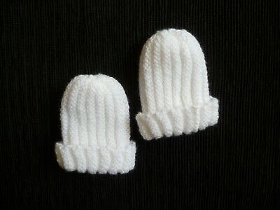 Baby clothes UNISEX BOY GIRL premature/tiny<5lbs/2.3kg x2 twins,white knit hats