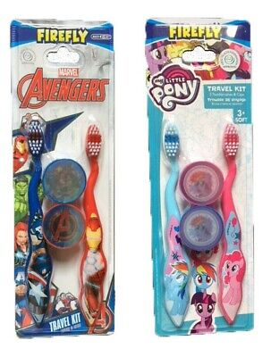 Kids My Little Pony ,Avengers   Toothbrush Soft 2 Pack With Cap Travel Kit