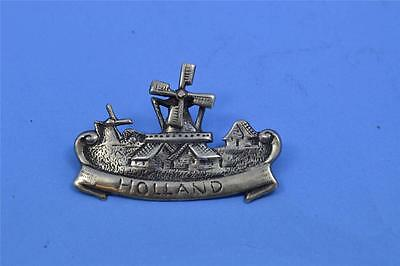 vintage brooch solid silver dutch Holland windmill export mark large size