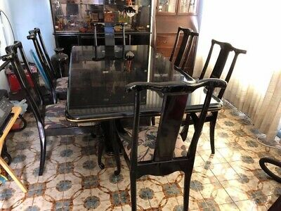 BLACK LACQUER DINING Room Set (Table, 6 Chairs, Lighted China Cabinet)