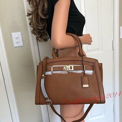 04544a537b Nwt Michael Kors Luggage Brown Leather Large Satchel Tote Shoulder Bag Purse