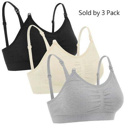 bd33f53b97a 3-Pack Maternity Nursing Bra Breastfeeding with Pads Breast Feeding Tank Top