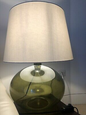 Ikea Ljusas Ysby Large Green Glass Table Lamps Pair Lights