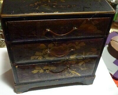 Original Antique Victorian Japanese Lacquer Chest Of Drawer Cabinet Jewellery