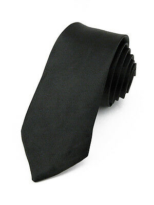 CRAVATE Slim pour homme 5 cm en Satin Noir  - Black men Necktie cravatte étroite