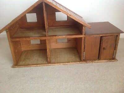 Home Made Open Fronted Wooden Dolls House With Garage