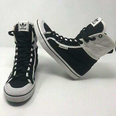 7aa877b36320 Adidas Honey Hi Top Womens Black White Pink Fold Over Sneaker Shoes Size US  7.5