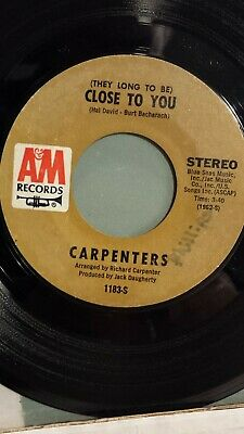 """THE CARPENTERS  45 RPM-""""They Long to be Close to You"""""""" I Kept on Loving You"""" VG-"""