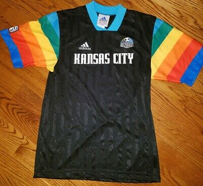 new style 4eec7 d9e6f VINTAGE 1997 ADIDAS MLS KANSAS CITY WIZARDS RAINBOW JERSEY Rare Medium,  Sporting